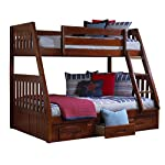Discovery World Furniture Twin over Full Bunk Bed with 3 Drawer Storage, Merlot