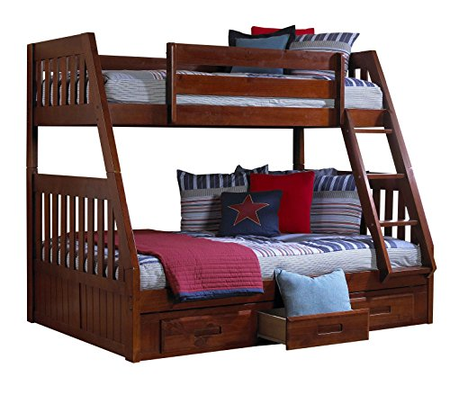 Discovery World Furniture Twin over Full Bunk Bed with 3 Drawer Storage, - Loft Discovery All One