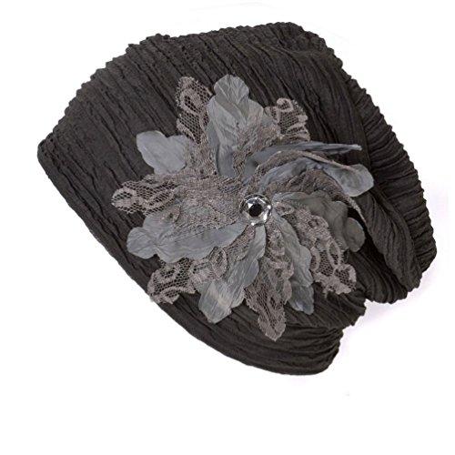 Casualbox Charm Womens Beanie Hat Cute Flower Slouchy Cap Ladies Fashion Elegant Floral Formal Brown by Casualbox