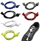 6 Pairs of No Tie Elastic Shoelaces in Different Colors, DaKuan Reflective Elastic