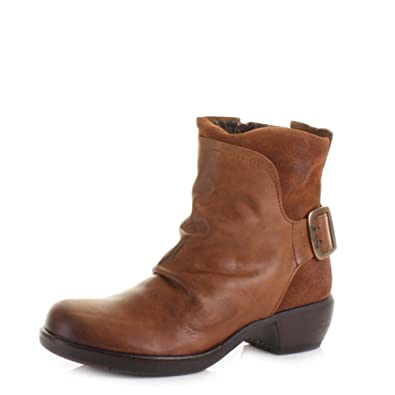 Womens Fly London Mel Camel Leather Ankle Boots SIZE 5
