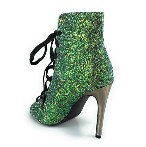 Olga-99 Peep Toe Lace Up Glitter Sparkle Tacco A Spillo Stivaletto Sandalo Verde Con Tacco Sottile Sirena Sirena Sirena