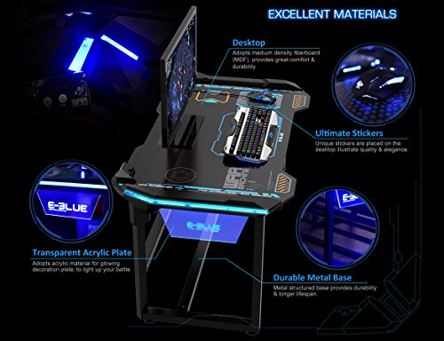 Amazon.com: E-Blue USA Wireless Glowing LED PC Gaming Desk Table ...
