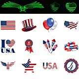 Patriotic Tattoos 4th of July Tattoos Temporary Tattoos For Independence Day 72 Pack Glow in the Dark 72 Pack Standard Tattoos 12DZ 1.5