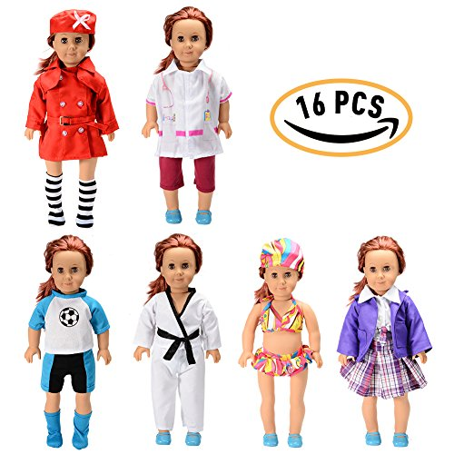 Sakiyr American Girl Doll Clothes Accessories Set - 6 PACK Complete Outfits Include Stewardess, Doctor, Soccer, Taekwondo, Bikini, School Uniforms for 18