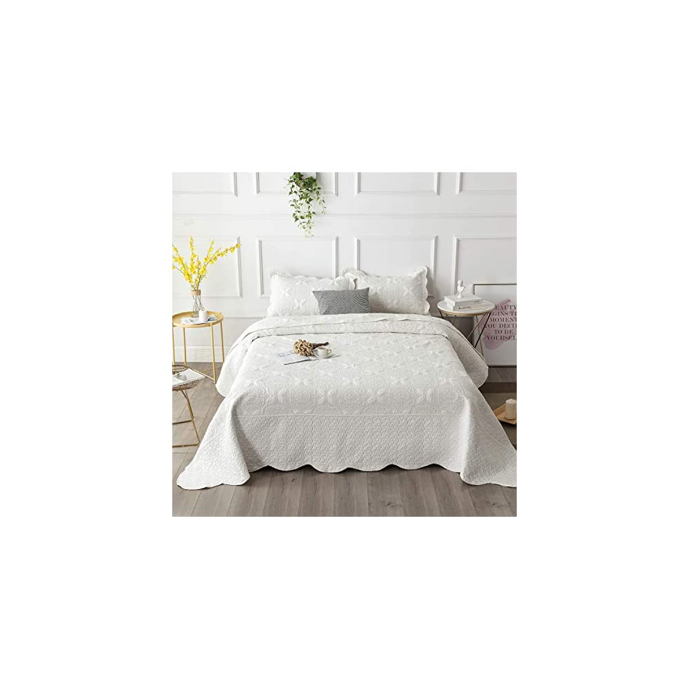 Brandream Farmhouse Bedding Cream White Quilt Set Queen Size Embroidery Bedspread Coverlet Set Vintage Bedding…