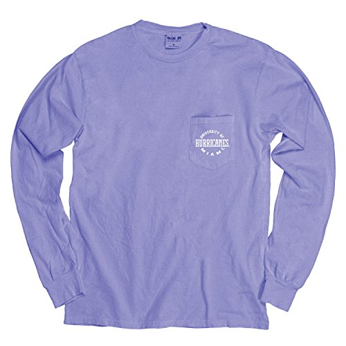 - NCAA Miami Hurricanes Adult NCAA Dyed Ringspun Longsleeve Tee with Pocket,Large,Periwinkle