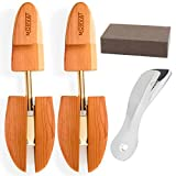 Morvat Premium Quality Adjustable Cedar Wood Shoe Tree with Bonus Metal Shoe Horn, Sanding Sponge, and Carry Bag | Shoe Shaper Insert- Size Medium