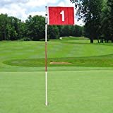 HMX Golf Pin Flag Golf Green Hole CUp With Flagsticks ---5.9Ft and 6.3 Ft Are Available For Choice, 1 Set (6.3Ft)