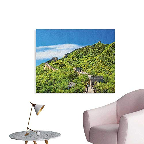 (Anzhutwelve Great Wall of China Art Decor Decals Stickers Old Chinese Asian Building Area Panorama in Nature Exotic Scene Funny Poster Turquoise Green W32 xL24)