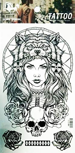 NipitShop 1 Sheet Girl Lady Sexy Indian Feather Wolf Head Skull Rose Tattoos Body Art for Men & Women Waterproof Large Arm Temporary Tattoo