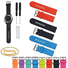 For Garmin D2/Fenix/Fenix2/Fenix3/Fenix3 HR/Quatix/Quatix3/Tactix Sports GPS Smart Watch Replacement Band, Feskio Soft Silicone Strap Replacement Watch Band with Screwdriver and Lug Adapter for Garmin