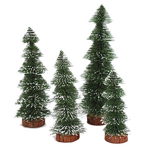 ModeC 4Pcs Miniature Unlit Artificial Village Christmas Decoration Pine Trees Green-2 (Village Tabletop Tree Christmas Artificial)