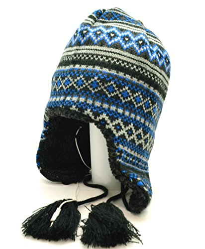 Acrylic Peruvian Hat - Urban Pipeline Winter Beanie Headphones Blue Peruvian Style One Size