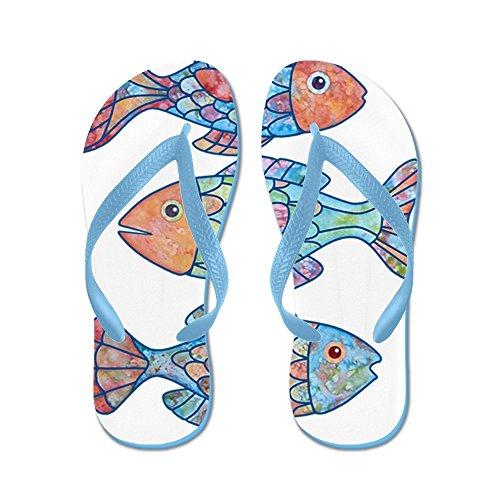 Cafepress Fiskar 3 - Flip Flops, Roliga Rem Sandaler, Strand Sandaler Caribbean Blue
