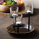 wooden bathroom tray - Elegant, Decorative Votive Candle holder Centerpiece, Glass Votive cups On Round Wood Base/ Tray For Weddings~Party Decoration~Dining Table~Events