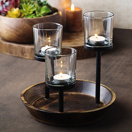 [Elegant, Decorative Votive Candle holder Centerpiece, Glass Votive cups On Round Wood Base/ Tray For Weddings~Party Decoration~Dining Table~Events] (Candle Table Decorations)