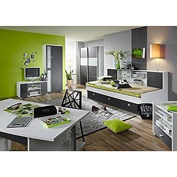 Komplett Jugendzimmer Kinderzimmer Set Grau Kleiderschrank Wohnwand