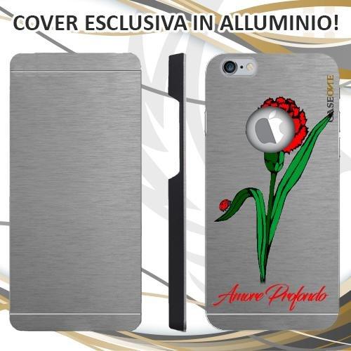 CUSTODIA COVER CASE CASEONE GAROFANO AMORE PER IPHONE 6S ALLUMINIO TRASPARENTE