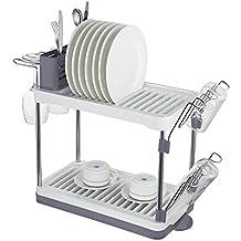 Surpahs 2-Tier Compact Dish Drying Rack (Gray)
