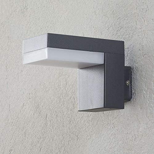 Lampenwelt LED Wandleuchte außen \'Dionys\' (spritzwassergeschützt) (Modern) in Alu aus Edelstahl (1 flammig, A+, inkl. Leuchtmittel) - LED-Außenwandleuchten Wandlampe, Led Außenlampe, Outdoor Wandlampe