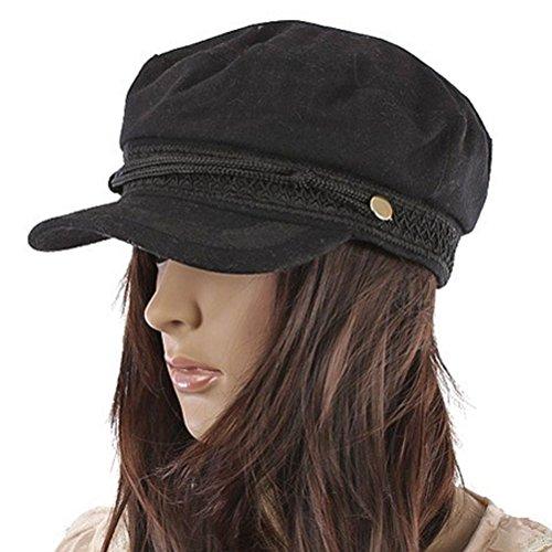 [Women Girl Army Military Captain Skipper Cadet Costume Brim Hat Cap Black] (Army Costumes Women)