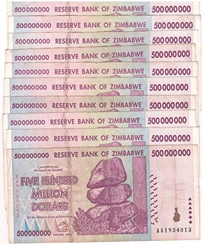 10 x 500 Million Zimbabwe Circulated Used 2008 series AA/AB,P-82 - Genuine rare For collectors, limited, US / Fast ship (Zimbabwe Currency Circulated)