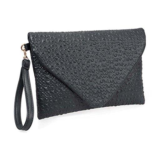 BMC Fashion Forward Punk Black Faux Leather Envelope Style Studded Square Circle Fashion Clutch (Clutch Purse)