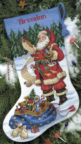 Dimensions 8645 Checking His List Stocking Counted Cross Stitch Kit-16 Long 14 Count ()