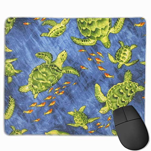Honu and Fish Blue Quality Comfortable Game Base Mouse Pad with Stitched Edges Size 11.81 9.84 Inch]()