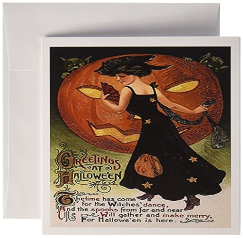 3dRose Vintage Halloween Lady in Black - Greeting Cards, 6 x 6 inches, set of 12 (gc_6039_2)]()