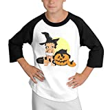 BETTY BOOP Teenagers Classic Crewneck Cotton 3/4 Sleeve Raglan Baseball T-Shirts