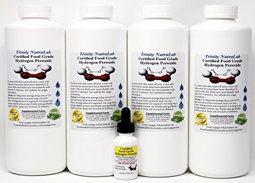 (Food Grade Hydrogen Peroxide by Trinity NutraLab - Recognized as Highest Quality. 4 Quarts plus pre-filled dropper bottle 35% reduced to 12% shipped fast)