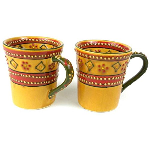 Mexico Pottery - Set of 2 Hand-painted Flared Encantada Pottery Mugs (Mexico)