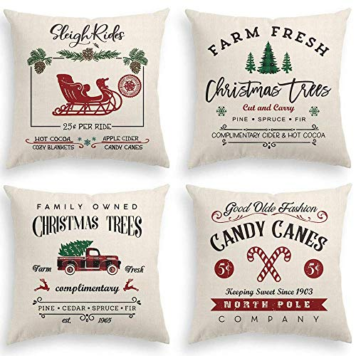 DAJIEWENHUA Christmas Pillow Covers 18x18 Set of 4 for Christmas Pillow Cover Winter Holiday Rustic Linen Cushion Case for Sofa Couch Christmas Decorations Throw Pillow Covers