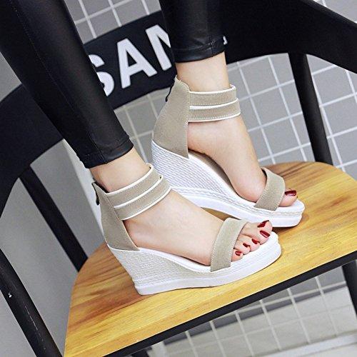 Aisun Damen Offene Zehen Durchgängig Plateau Keilabsatz Knöchelriemchen Sandale Khaki