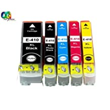 Ouguan Ink 5-Pack 410 410XL T410XL Ink Cartridge Replacing for Epson Expression Premium XP-530, Expression Premium XP-630, Expression Premium XP-830, Expression Premium XP-840 Series Printer (5-Pack: 1K,1C,1M,1Y,1PK)
