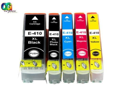 Tyjtyrjty 5x (1 Black, 1 Photo Black, 1 Cyan, 1 Magenta & 1 Yellow) Remanufactured 410 410XL T410 Ink Cartridgesfor Compatible for Expression XP-530, XP-630, XP-635, XP-640 and XP-830 Printer by Tyjtyrjty