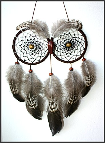 Handmade Dreamcatcher Owl American Indian Talisman Willow Feathers Beads Yarn Acrylic