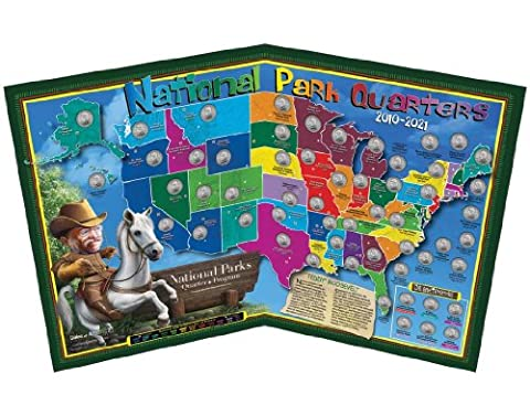 National Parks Fun Quarter Map - Made in USA and Designed for Kids - State Quarter Collection