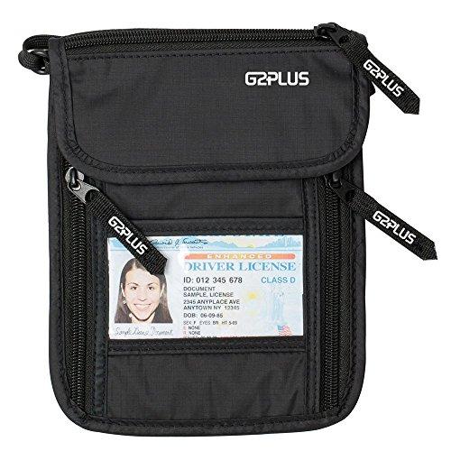 G2PLUS BrustbeutelBrusttasche Reisegeldbeutel mit RFID-Blockierung Ideal für Passport tragen und Wertsachen Verstecken Reisen (Schwarz)