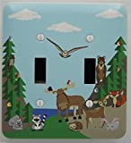 Woodland Forest Animal Light Switch Plate and Outlet Covers, Children's Nursery Decor with a Owls, Birds, Fox, Bear, Squirrel, Deer, Hedge Hog, Moose and a Raccoon. (Double Toggle)