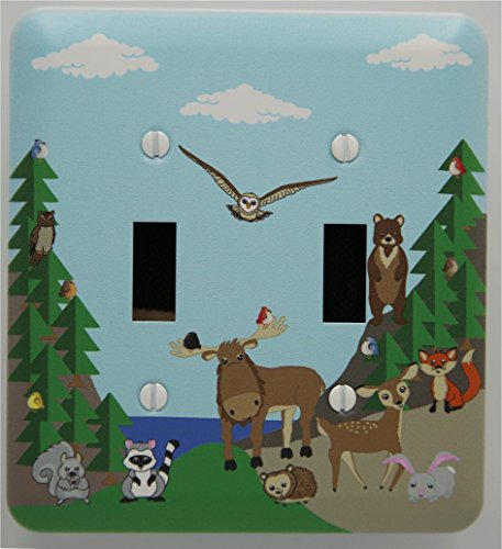 Woodland Forest Animal Light Switch Plate and Outlet Covers, Children's Nursery Decor with a Owls, Birds, Fox, Bear, Squirrel, Deer, Hedge Hog, Moose and a Raccoon. (Double Toggle) by Presto Chango Decor