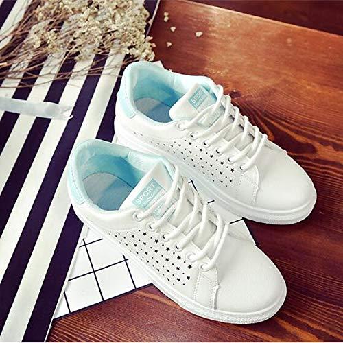Rosa del del Poliuretano Heel Cerrado Azul ZHZNVX Primavera de Zapatos Mujer Black pie Comfort Negro Dedo Flat Sneakers Verano PU 6wAU4q