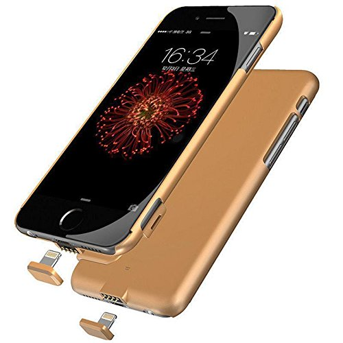 IPhone 7 Battery Charger Case, IPhone 6/6S Battery Charger Case, Ultra Slim 1500mAh Extended Portable Battery Backup Charger Cover for iPhone 7 (4.7) , iPhone 6/6S (Gold) -