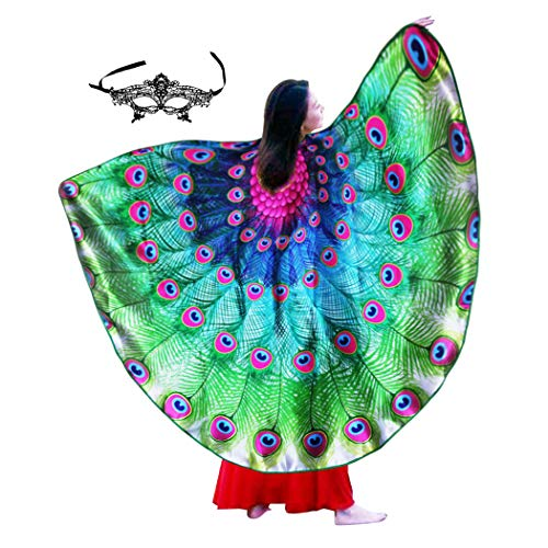 Peacock Feather Wing for Women, Adult Fairy Bird Costume for Pretend Party -
