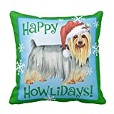 Emvency Throw Pillow Cover Happy Howlidays Silky Terrier Decorative Pillow Case Christmas Home Decor Square 20 x 20 Inch Cushion Pillowcase