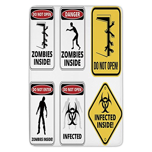 Bathroom Bath Rug Kitchen Floor Mat Carpet,Zombie Decor,Warning Signs for Evil Creatures Paranormal Construction Do Not Open Artwork,Multicolor,Flannel Microfiber Non-slip Soft Absorbent by iPrint