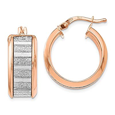 Cheap Top 10 Jewelry Gift Leslies Sterling Silver Rose Tone Plated Glimmer Infused Hoop Earrings hot sale