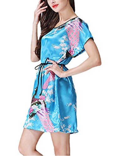 Camicia floreale camicia Peacock in da da Camicia da donna notte Nightgowns notte Lago notte Blu raso and da Asskyus Blossoms fvqdw4Pf